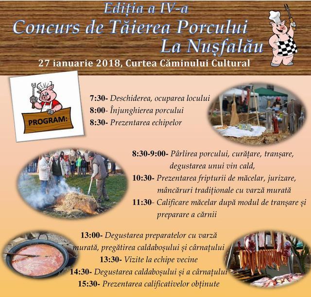 Concurs de tăierea porcului, în curtea Căminului cultural din Nușfalău