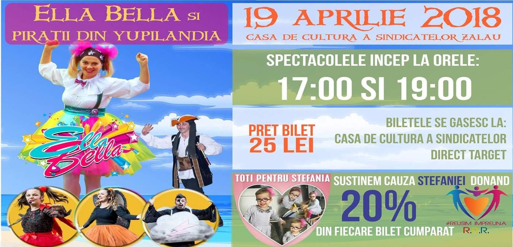 """Spectacol caritabil pentru Ștefania, """"Ella Bella și Pirații din Yupilandia"""""""