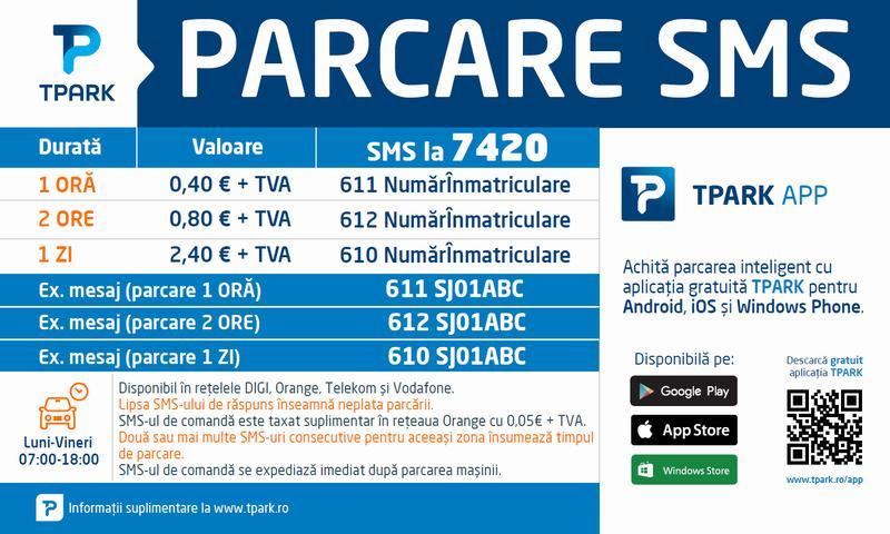 Zălăuanii pot plăti parcarea prin SMS ori prin aplicația mobilă TPARK