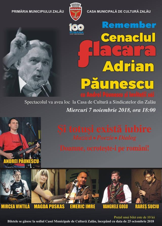 """Muzică, poezie, dialog - """"Remember Cenaclul Flacăra – Adrian Păunescu cu Andrei Păunescu și invitații săi"""", la Zalău"""