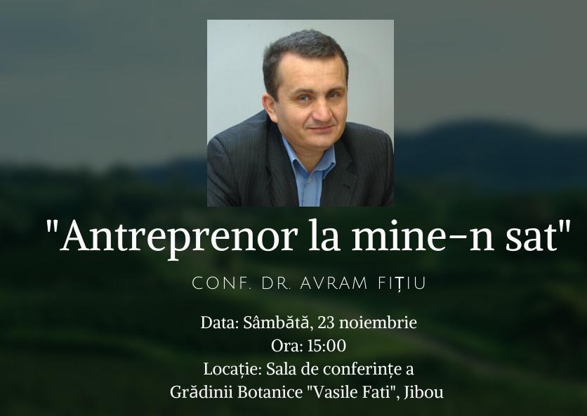 Despre antreprenoriatul în mediul rural, în conferința susținută de conf. dr. Avram Fițiu, la Jibou