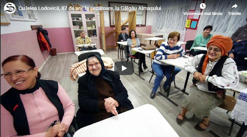 Cu lelea Lodovică, 87 de ani, la șezătoare la Gâlgău Almașului
